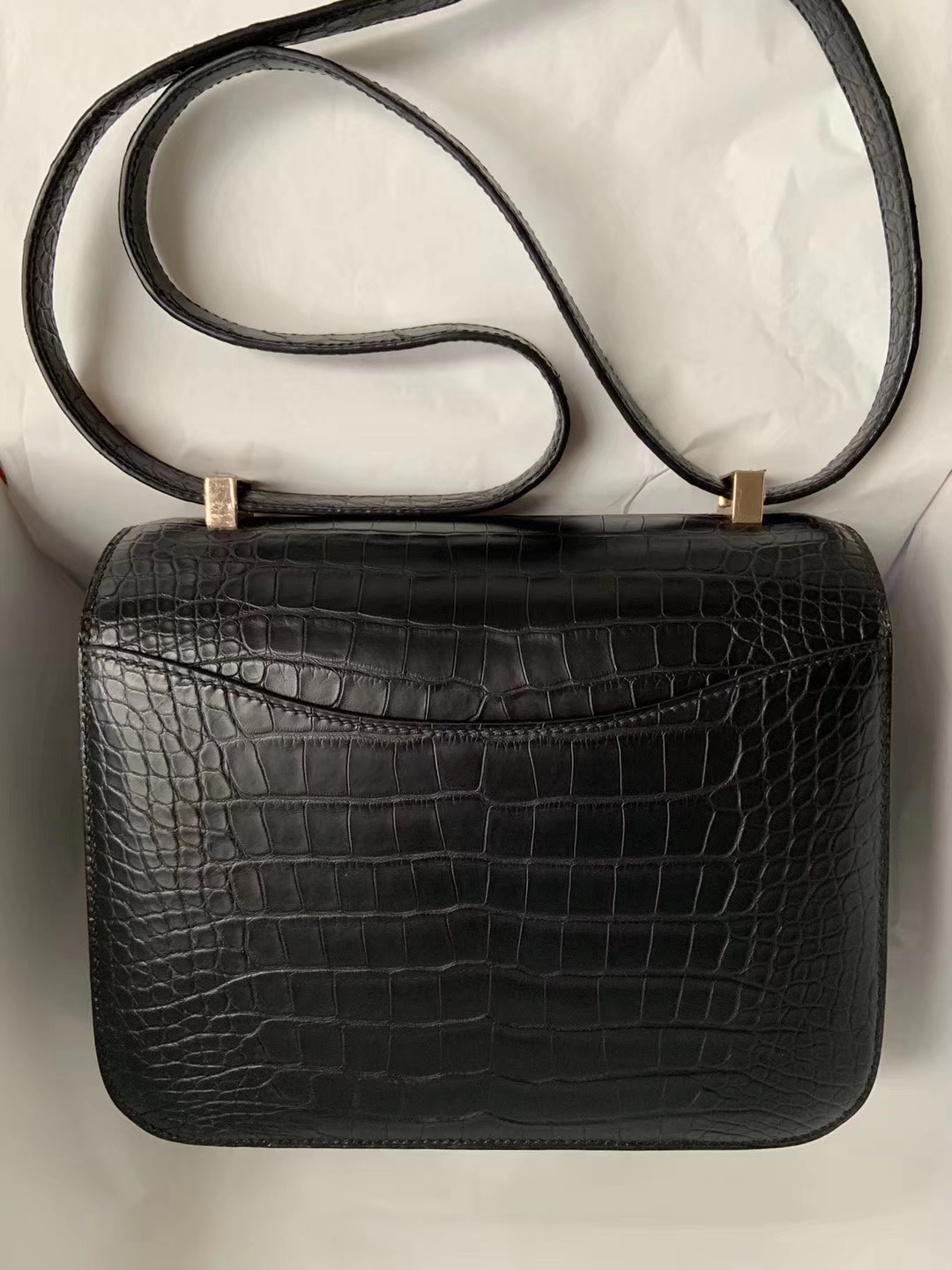 Customize Hermes Matt Crocodile Constance23CM Bag CK89 Noir Rose Gold Hardware