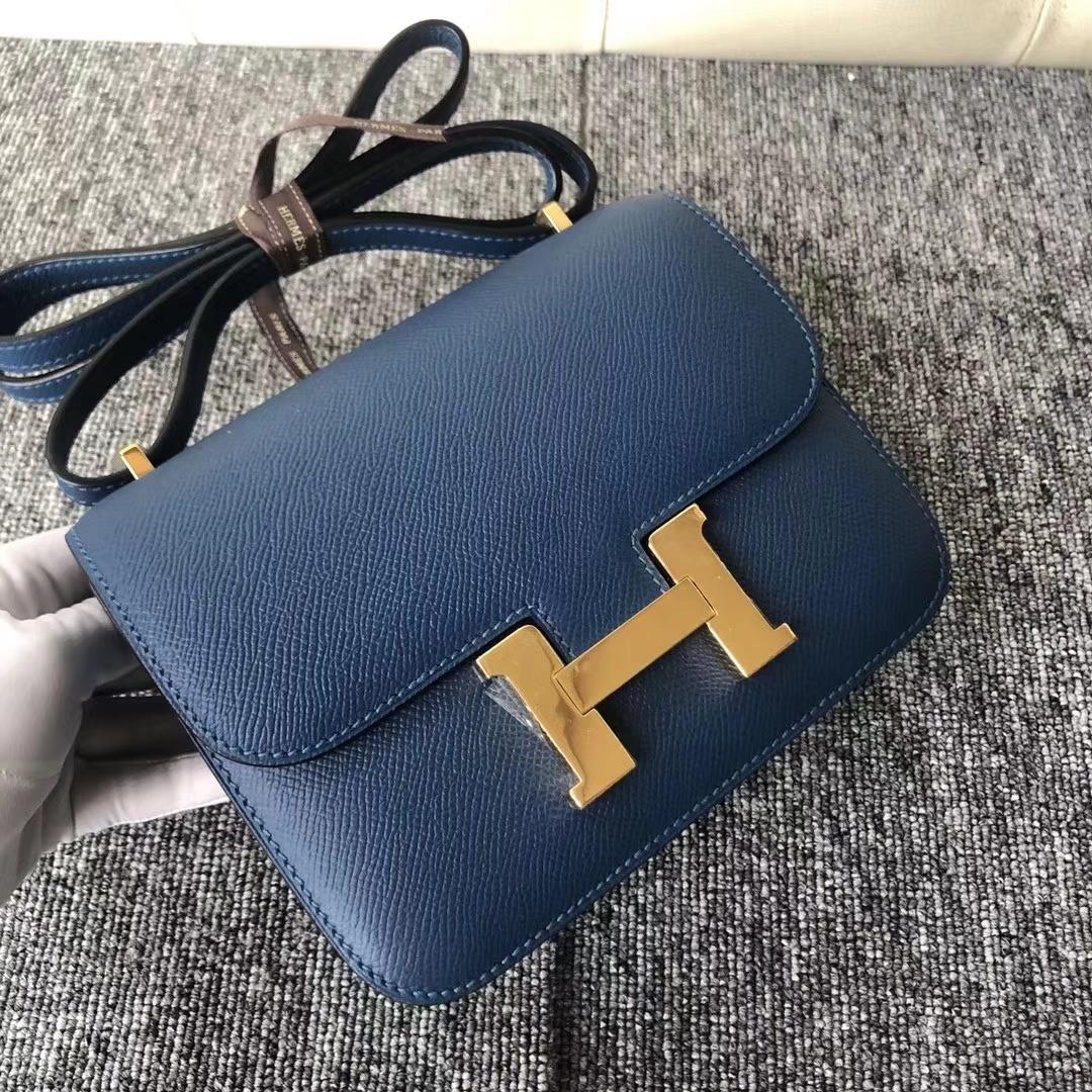 Stock Hermes S4 Deep Blue Epsom Calf Constance Bag19CM Gold Hardware