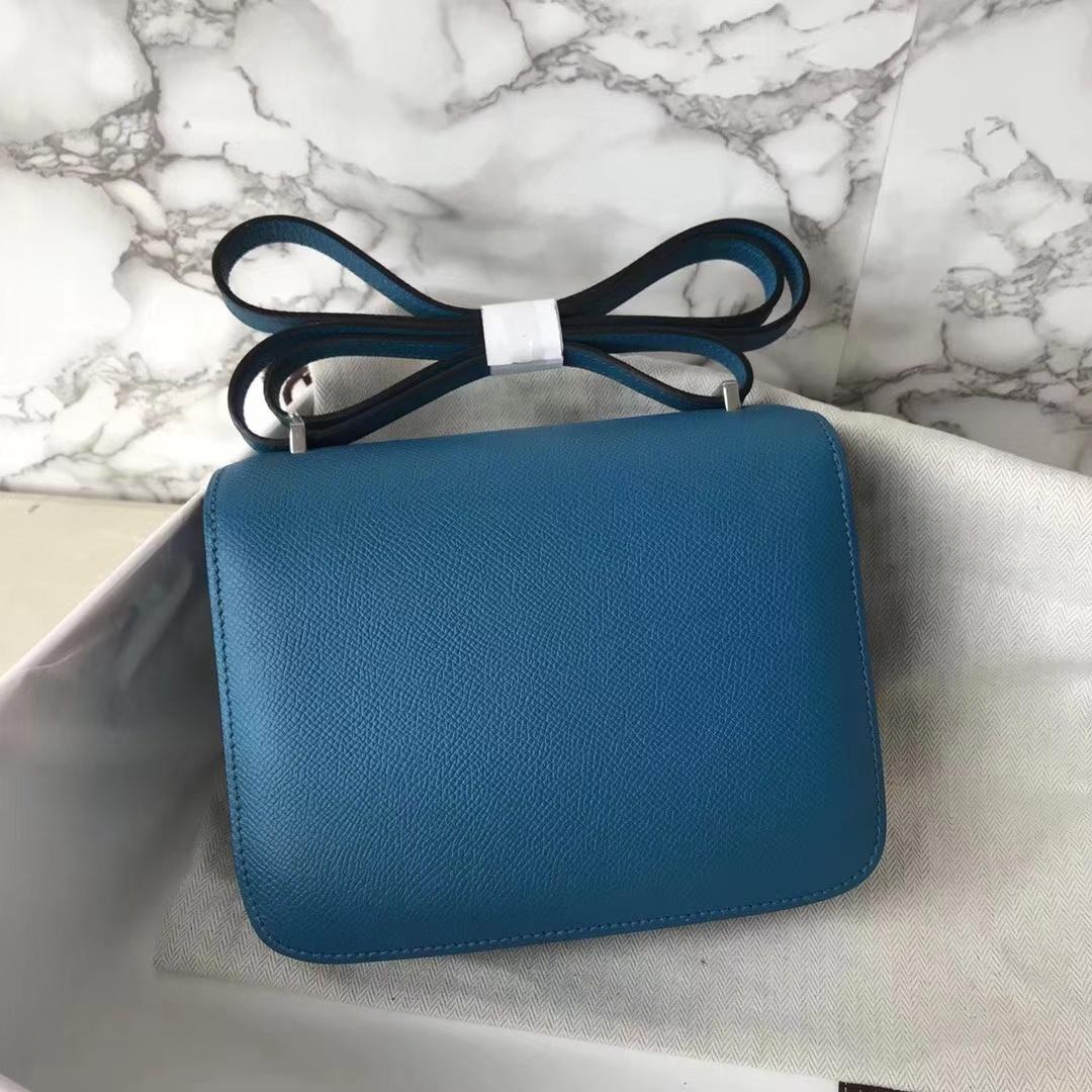 Stock Hermes Epsom Constance19CM Bag in 7W Blue Izmir Silver Hardware