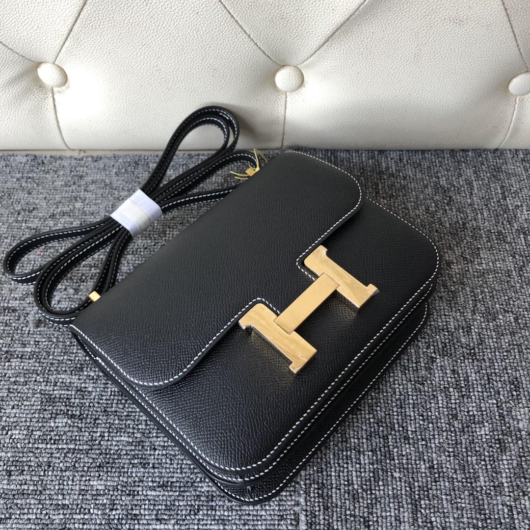 Customize Hermes CK89 Noir Epsom Constance18CM Bag White Line Gold Hardware