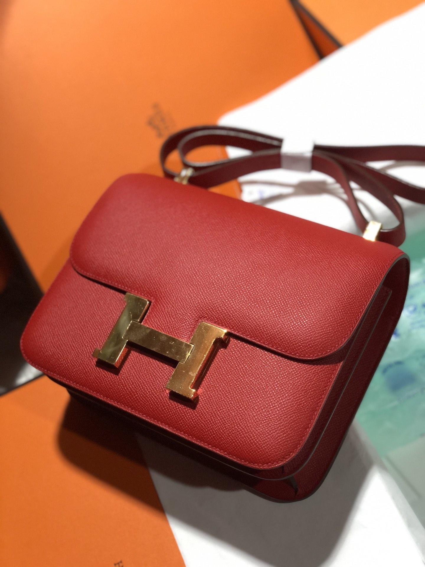 Discount Hermes Q5 Rouge Casaque Epsom Calf Constance24cm Bag Gold Hardware