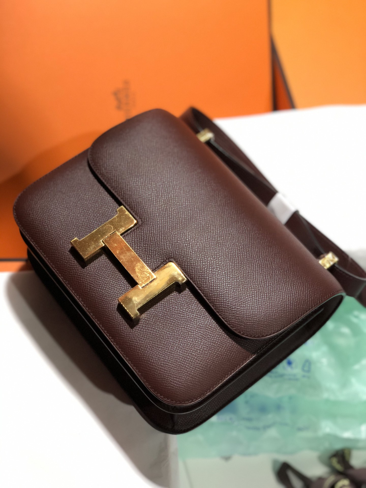 Pretty Hermes Epsom Calf Constance24cm Bag CK57 Bordeaux Gold Hardware