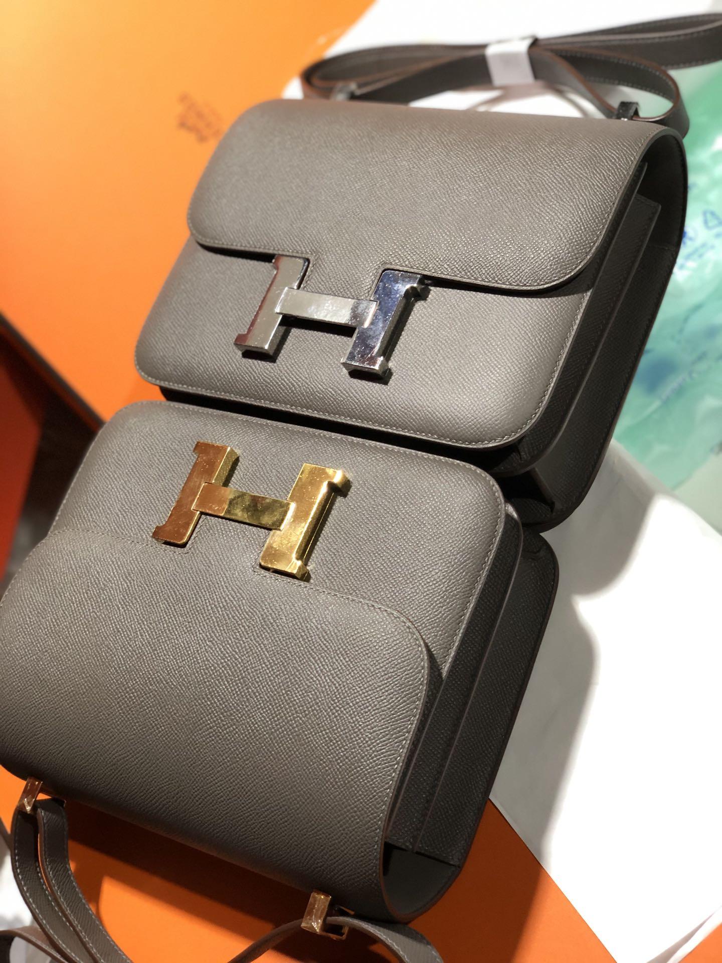 Noble Hermes Epsom Calf Constance24cm Bag in 8F Gris Etain Gold Hardware