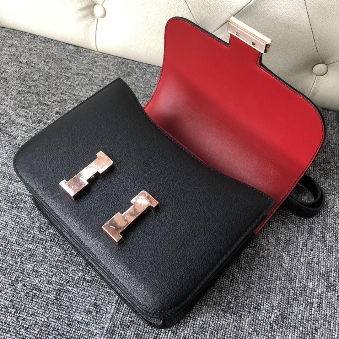 Customize Hermes CK89 Noir/Rouge Casaque inner Evercolor Constance Bag Rose Gold Hardware