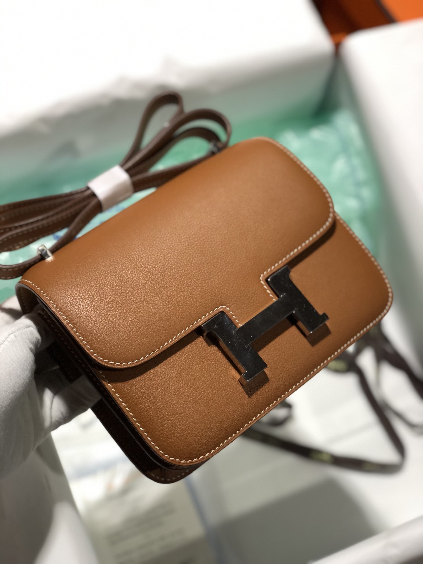 Customize Hermes Evercolor Constance Bag18cm in CK37 Gold Silver Hardware