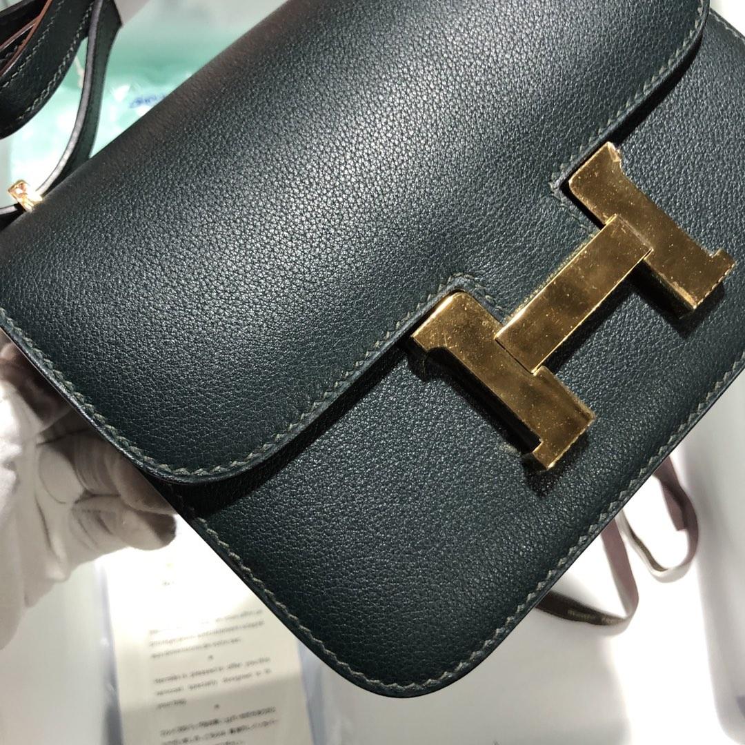 Customize Hermes 2Q Vert Tipien Evercolor Constance Bag18cm Gold Hardware
