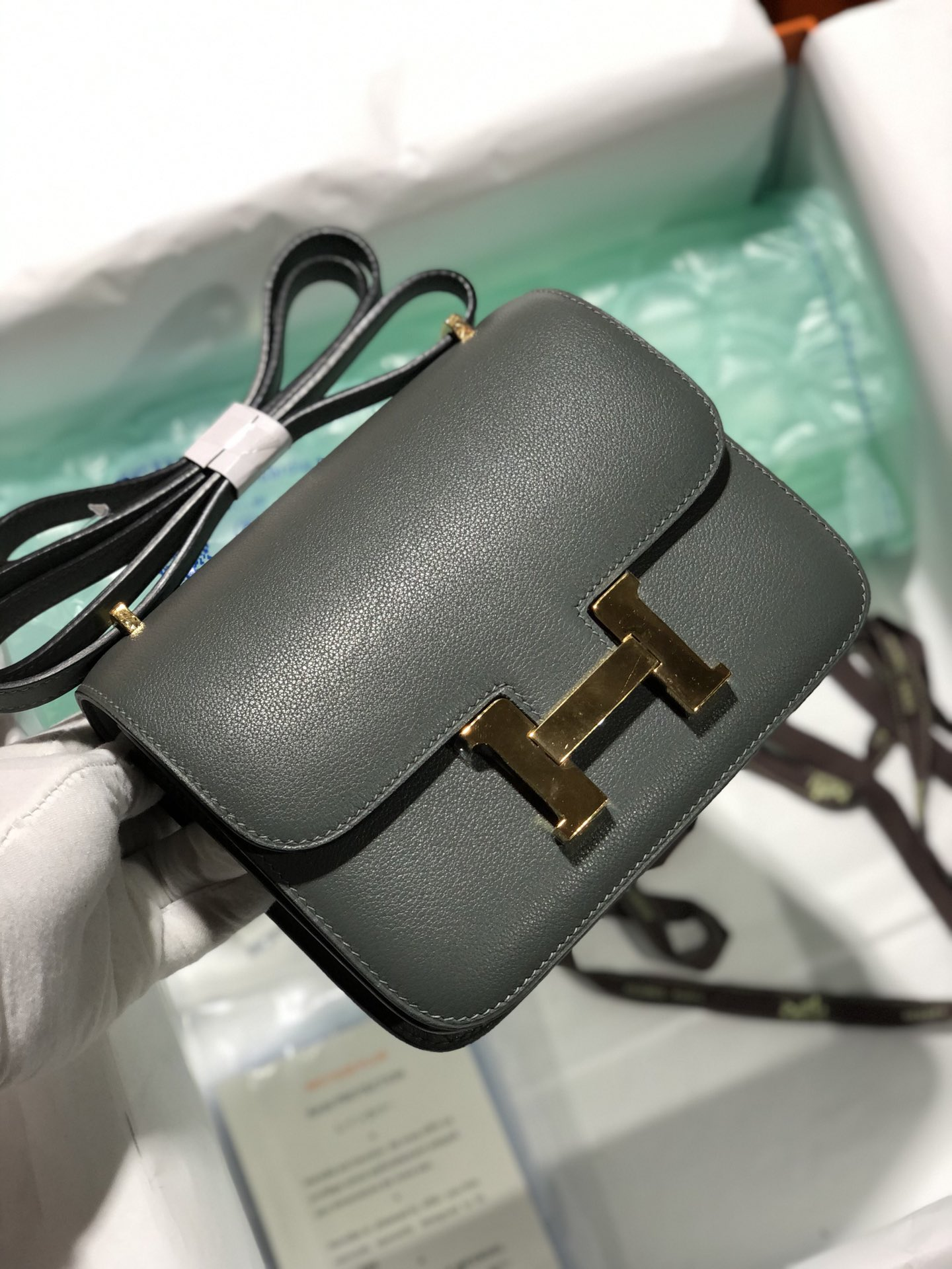 Customize Hermes Evercolor Constance18cm Bag CC63 Vert Amande Gold Hardware