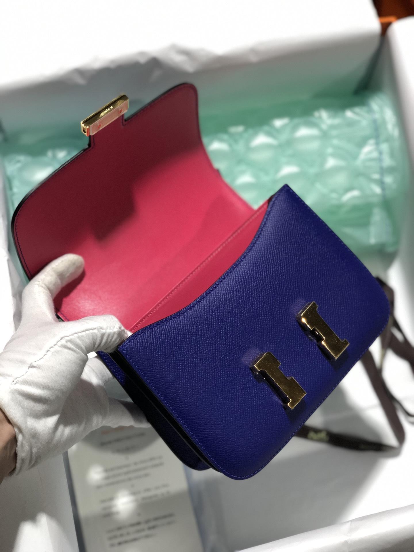 Hermes 7T Blue Electric/Rose Lipstick Epsom Constance Bag18CM Rose Gold Hardware