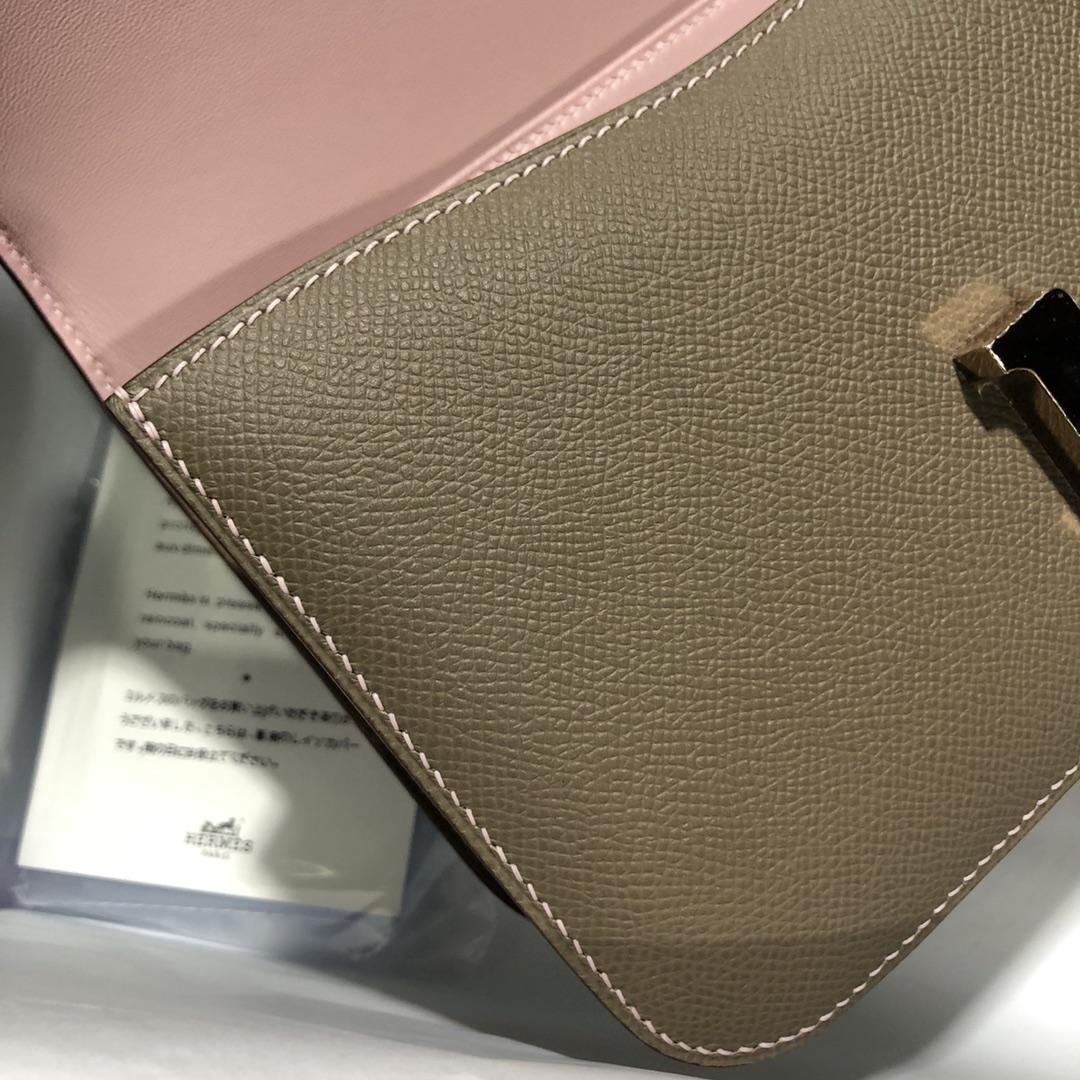 Hermes Gris Etoupe/Rose Lipstick inner Epsom Constance26cm Rose Gold Hardware