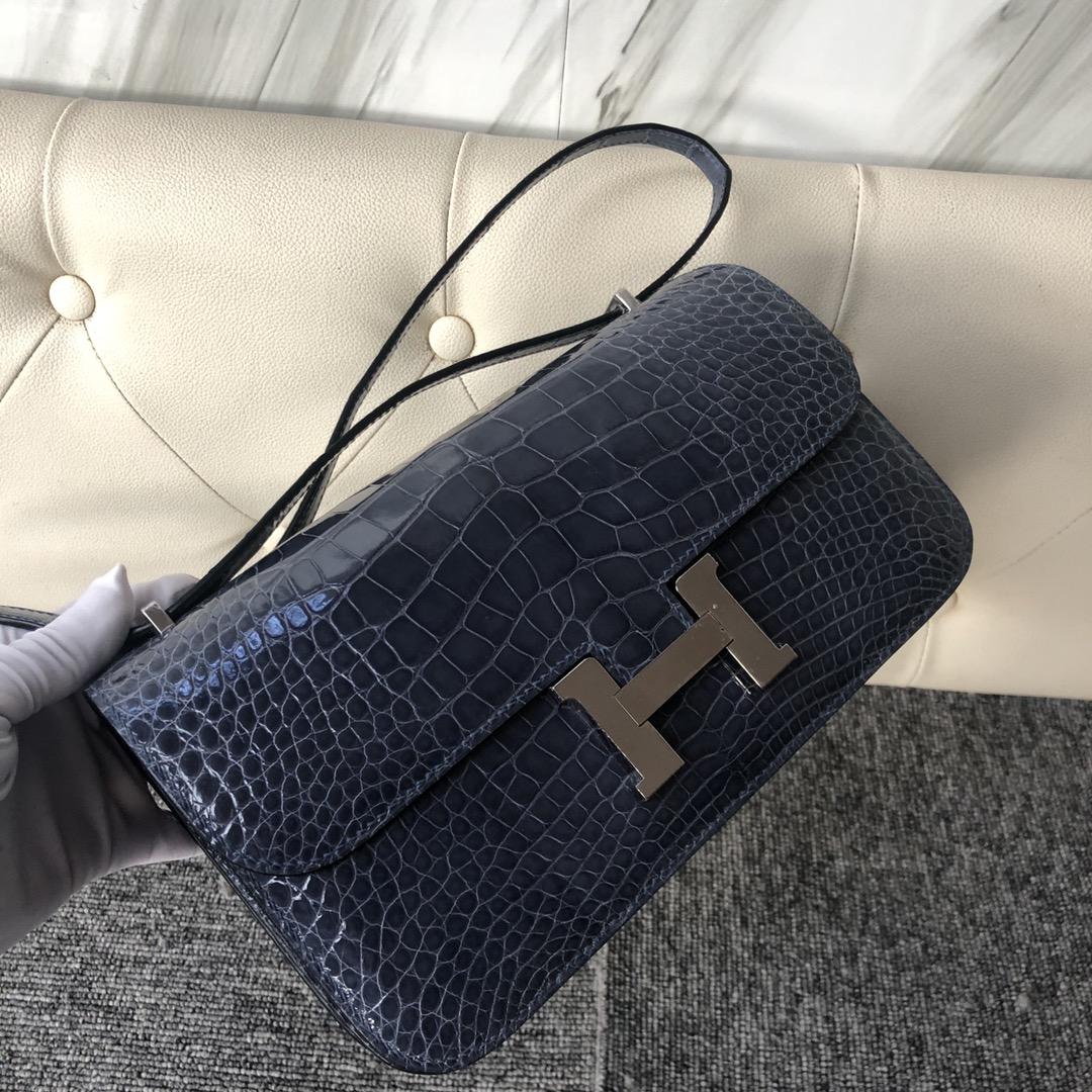 Customize Hermes N7 Blue Tempete Shiny Crocodile Constance26cm Bag