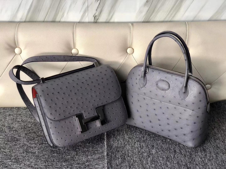 Customize Hermes Gris Agate KK Ostrich Rouge Casaque inner Constance24CM Bag