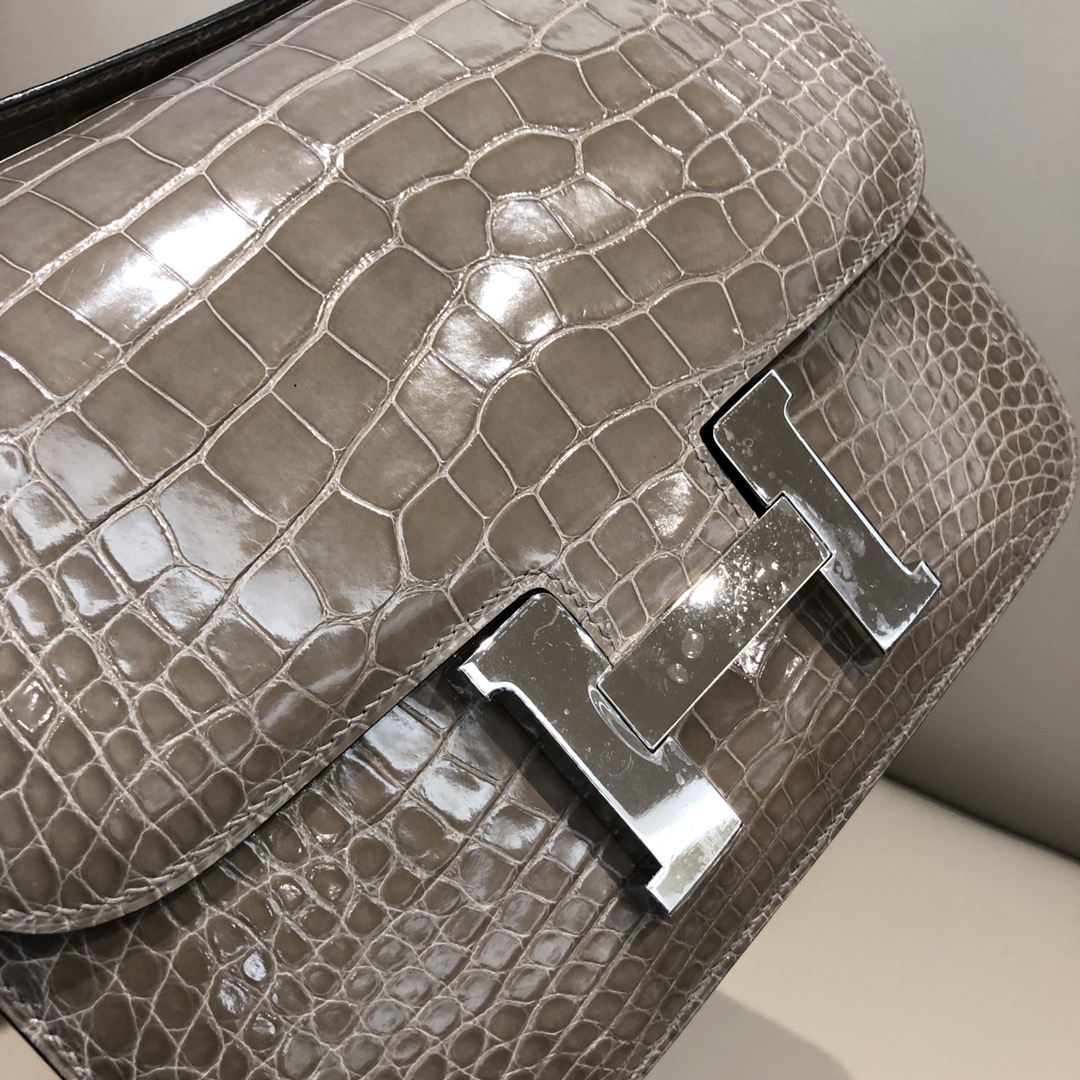 Stock Hermes Shiny Crocodile Constance24CM Bag in CK81 Gris T Silver Hardware