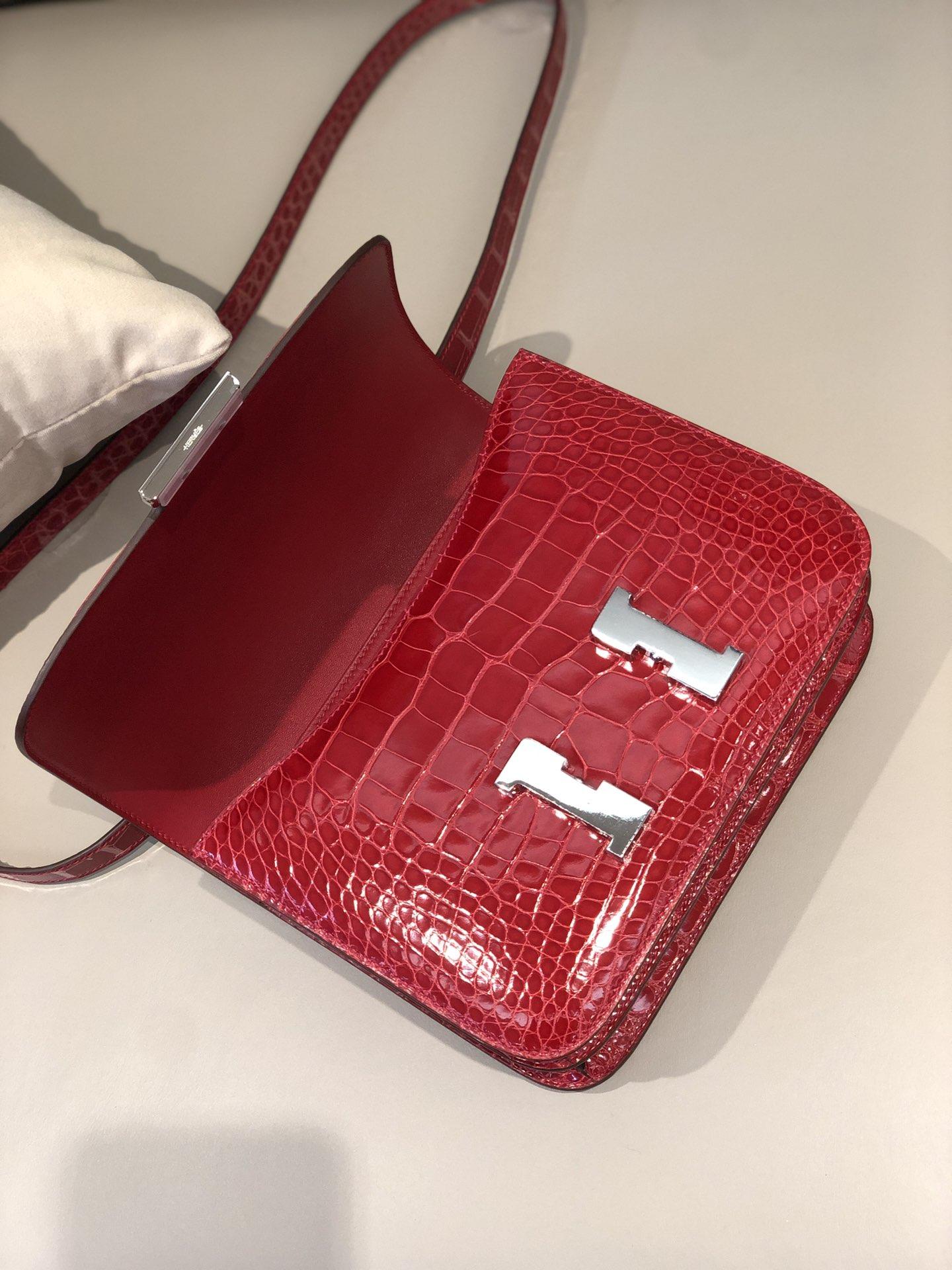 Stock Hermes CK95 Braise Shiny Crocodile Constance Bag24cm Silver Hardware