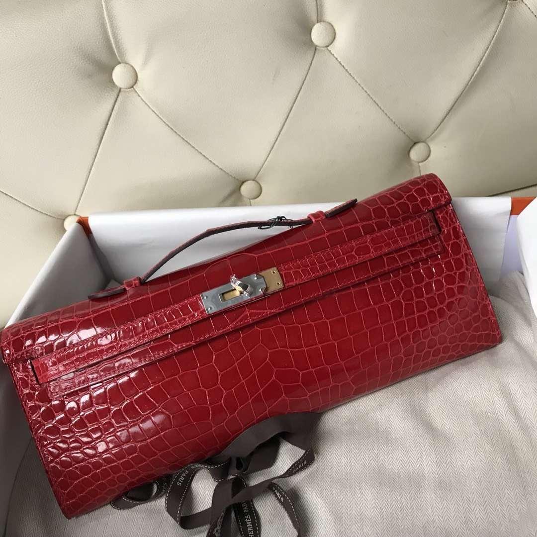 Sale Hermes Porosus Shiny Crocodile Kelly Cut31CM Clutch Bag in CK95 Braise Silver Hardware
