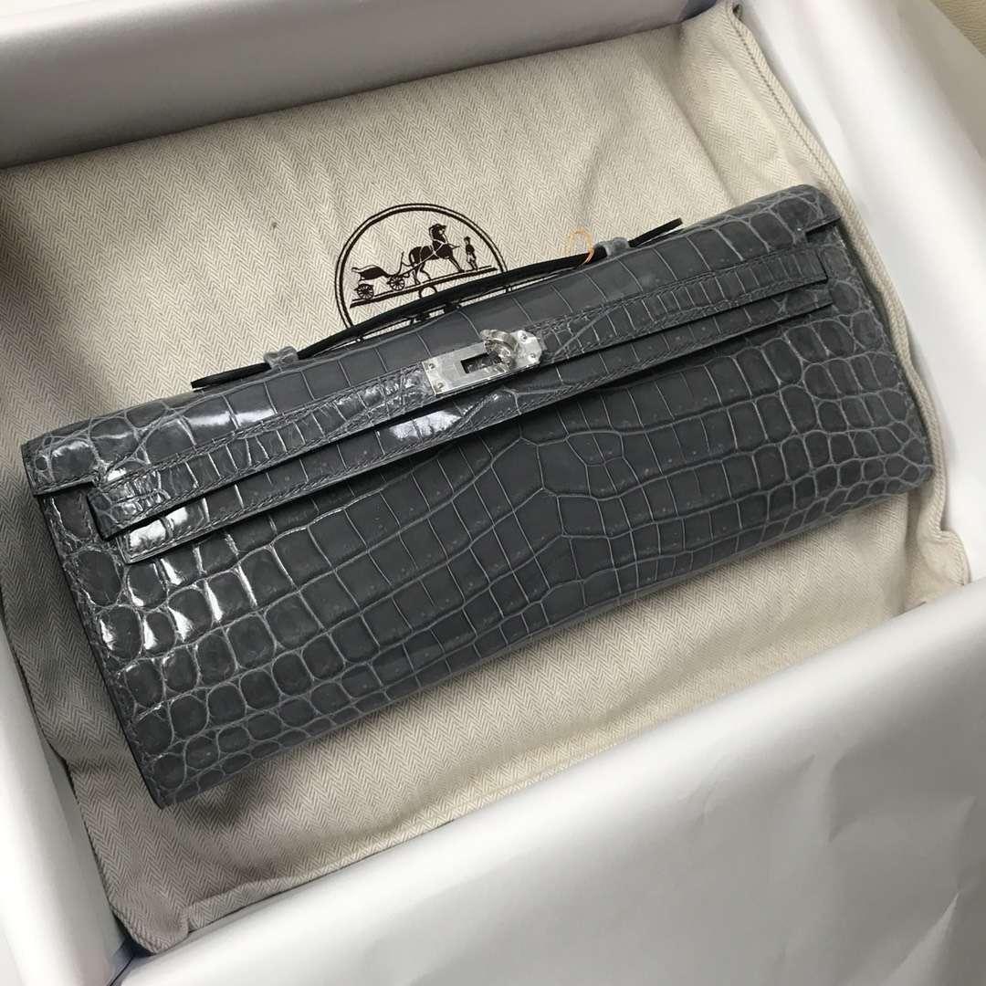 Fashion Hermes 8F Iron Grey Shiny Crocodile Kelly Cut31CM Evening Clutch Bag