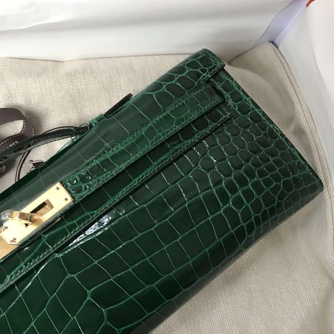 Elegant Hermes CK67 Vert Fonce Shiny Crocodile Leather Kelly Cut Evening Bag Gold Hardware