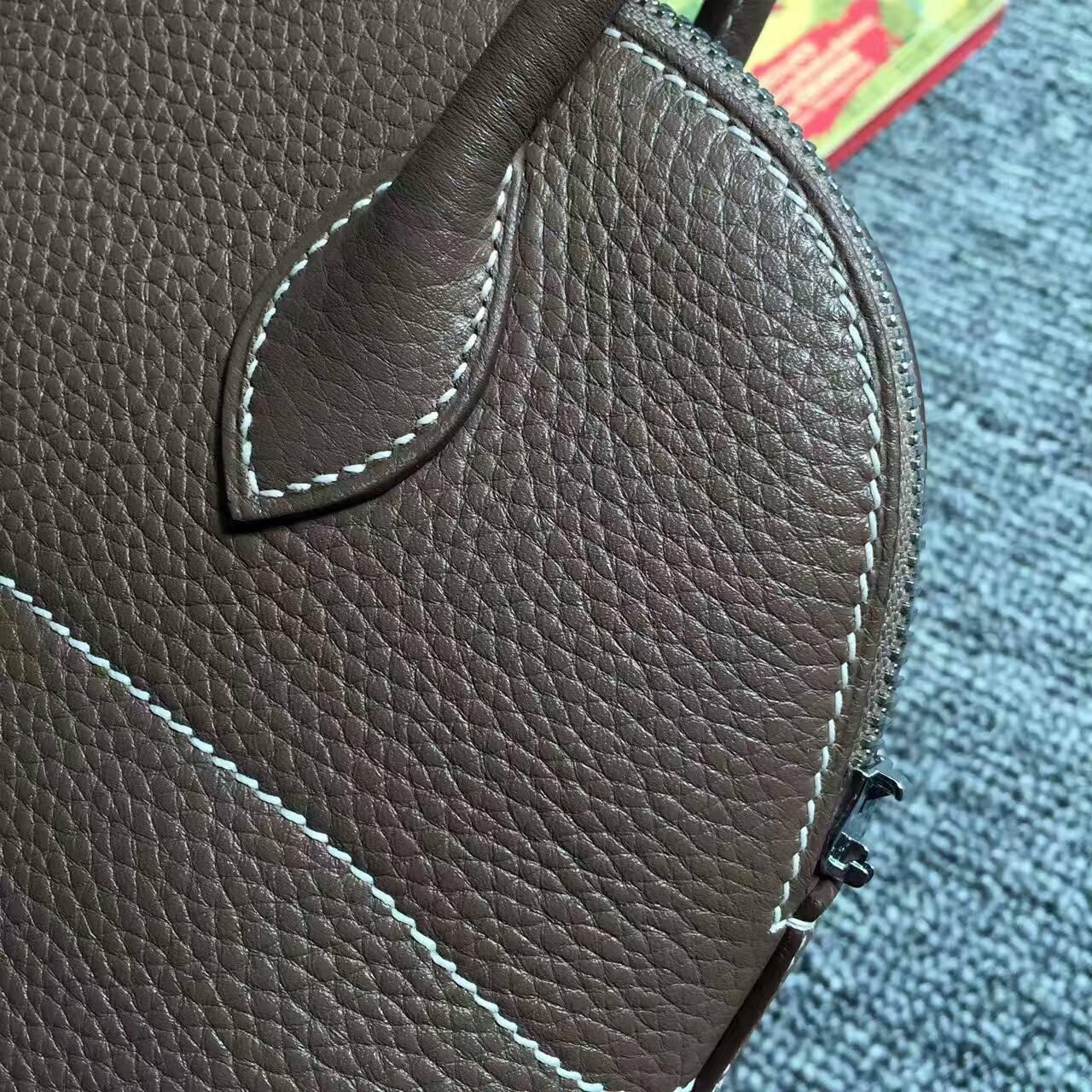 Hot Sale Hermes C18 Etoupe Grey Togo Calfskin leather Bolide Bag27cm