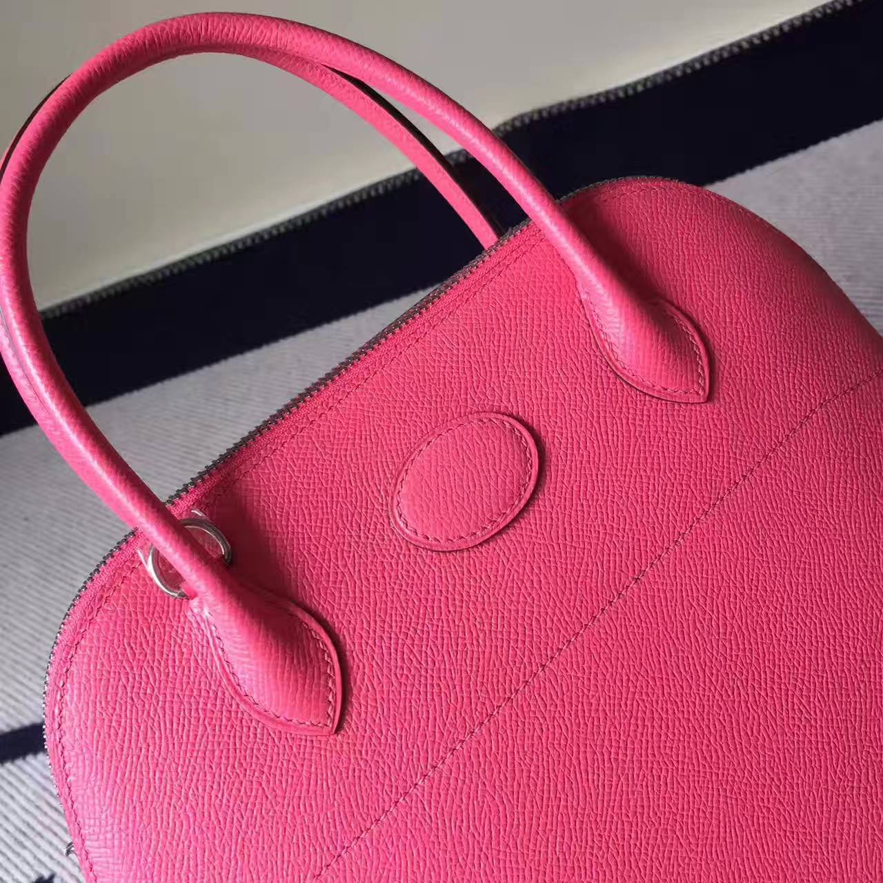Discount Hermes 8W Rose Azalee Epsom Leather Bolide Tote Bag 27cm