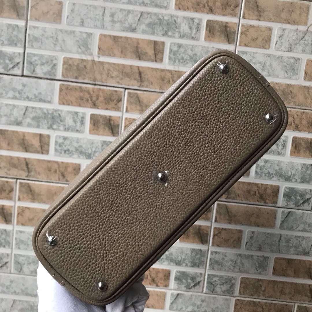 Fashion Hermes CK18 Etoupe Grey Togo Calfskin Bolide Bag27CM Silver Hardware