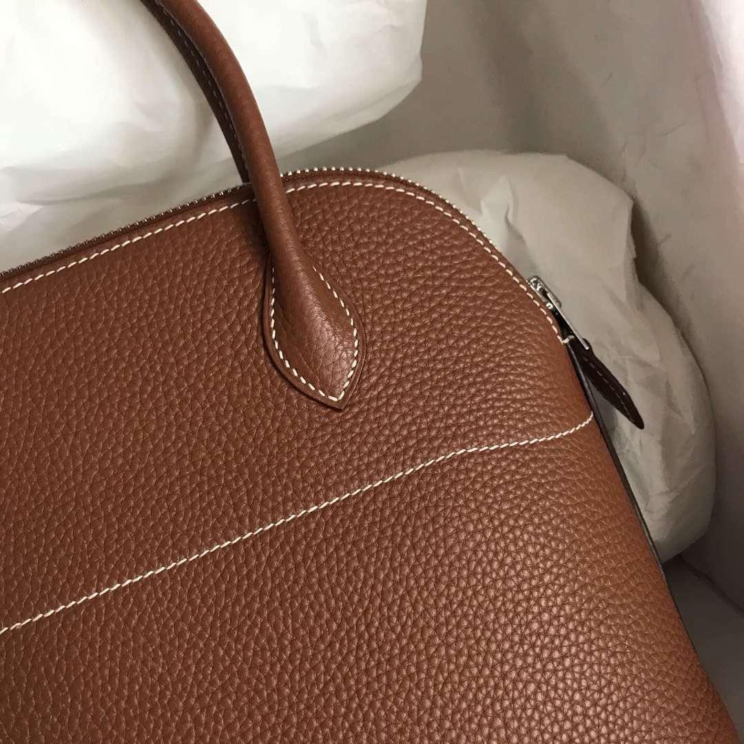 Wholesale Hermes CK37 Gold Togo Calfskin Bolide Tote Bag27CM Silver Hardware