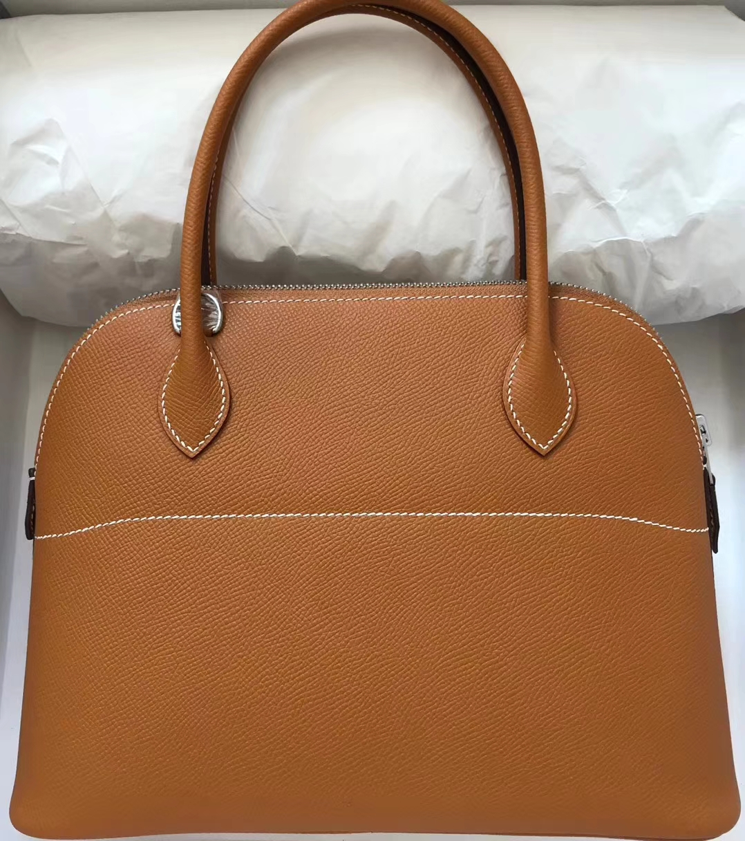 Wholesale Hermes CK37 Gold Epsom Calf Bolide Bag27CM Silver Hardware