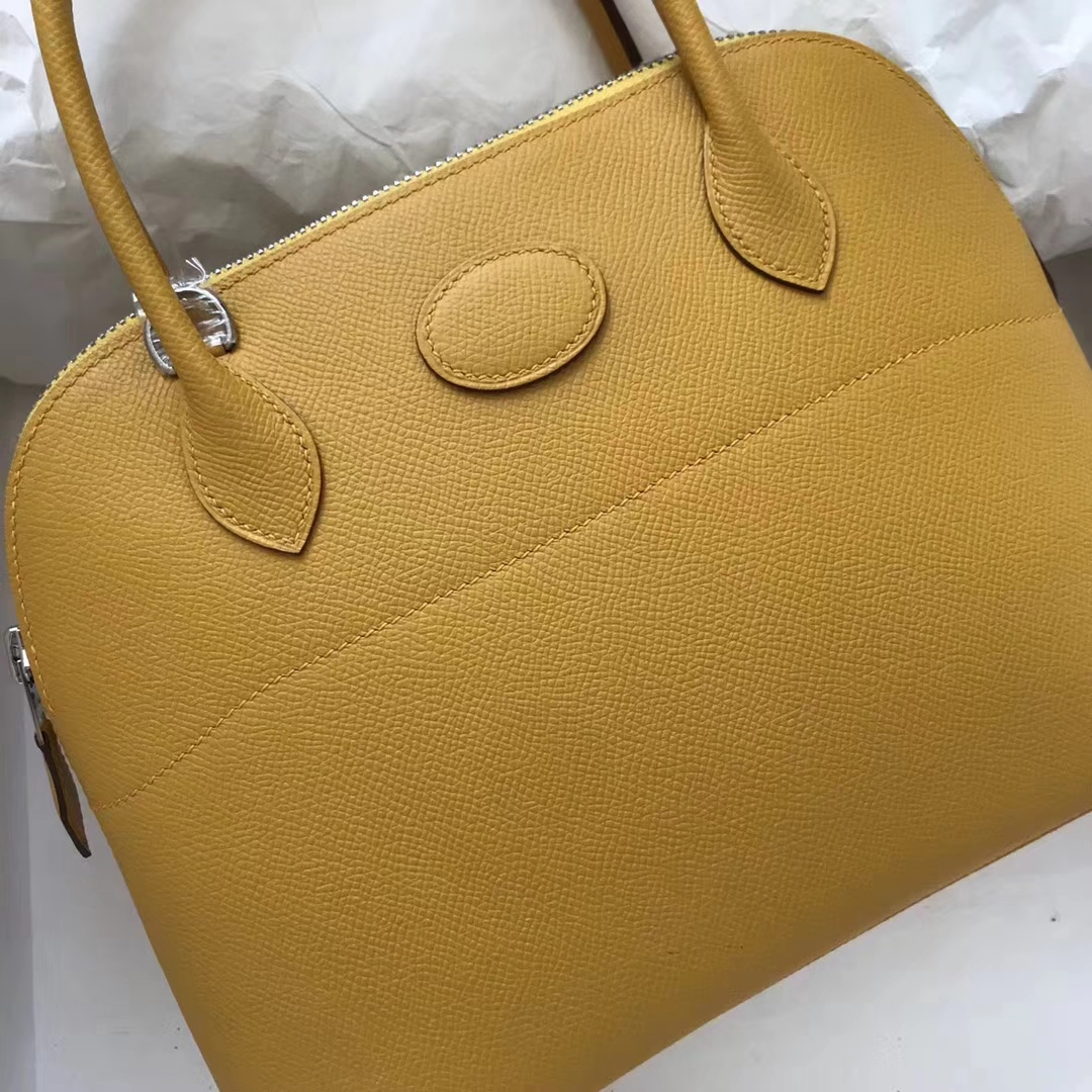 Discount Hermes Epsom Calf Bolide Bag27CM in 9D Ambre Yellow Silver Hardware