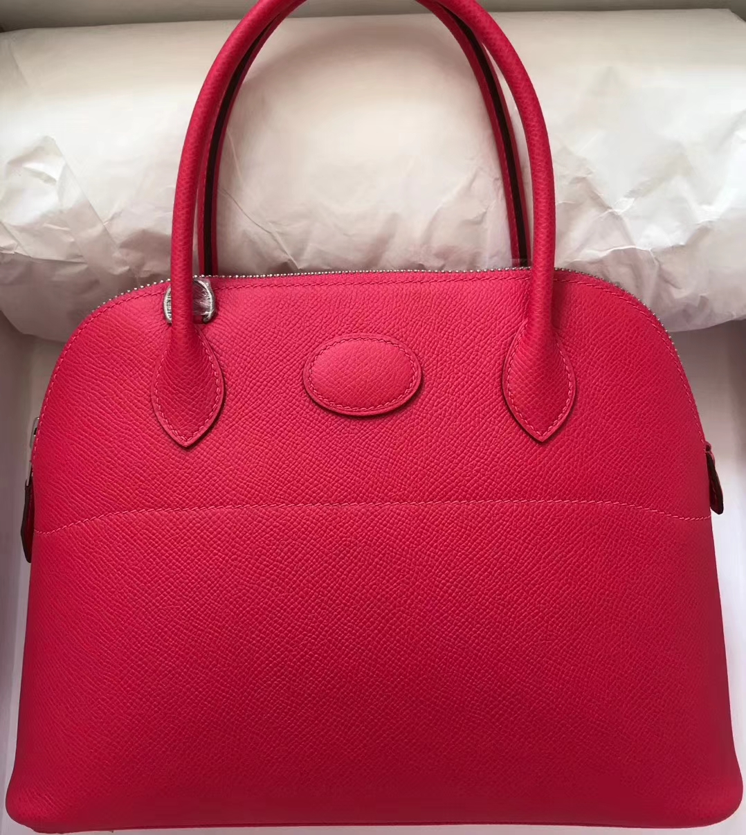 Pretty Hermes Hot Pink Epsom Calf Bolide Bag27CM Silver Hardware