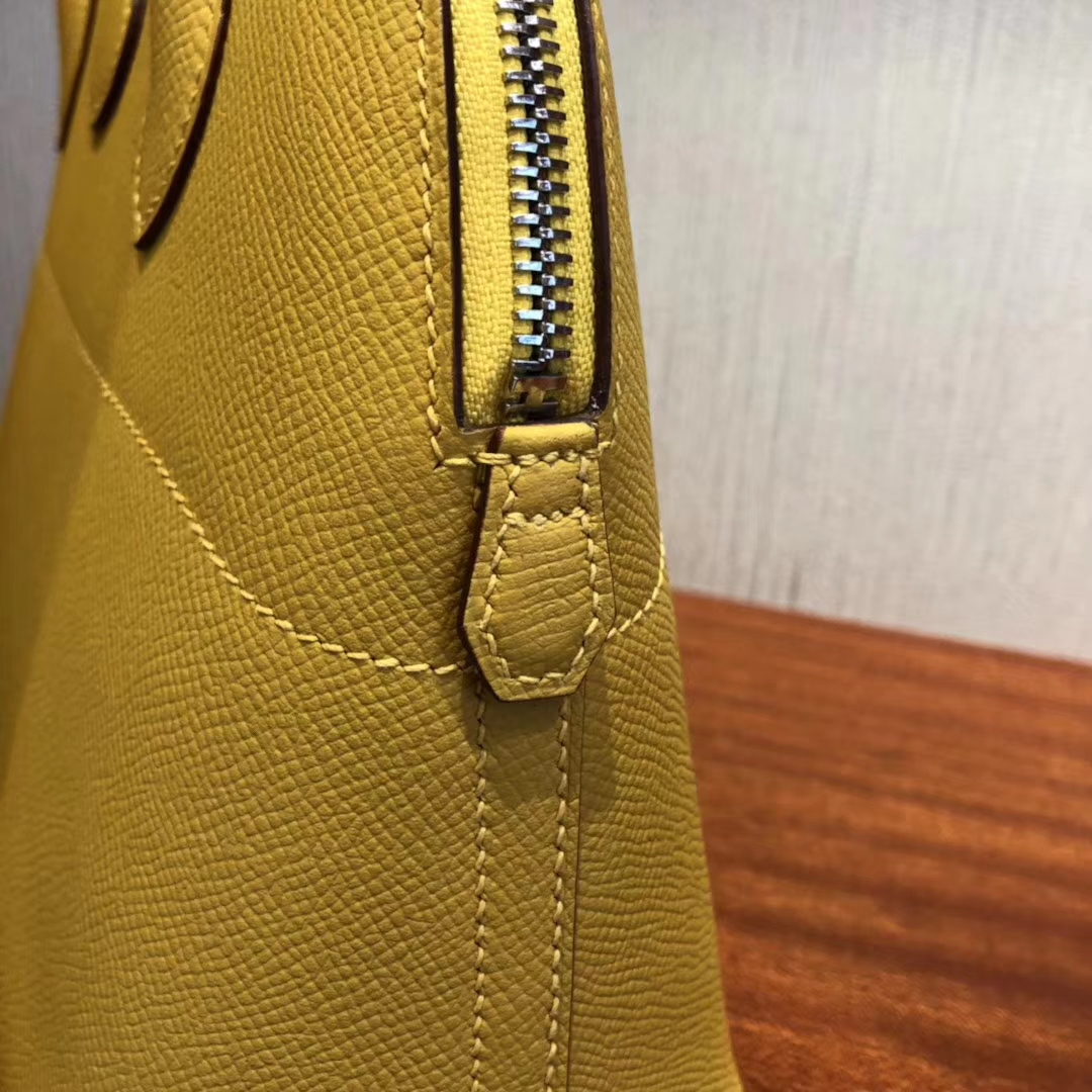 Fashion Hermes Epsom Calf Bolide Tote Bag in 9D Ambre Yellow Silver Hardware
