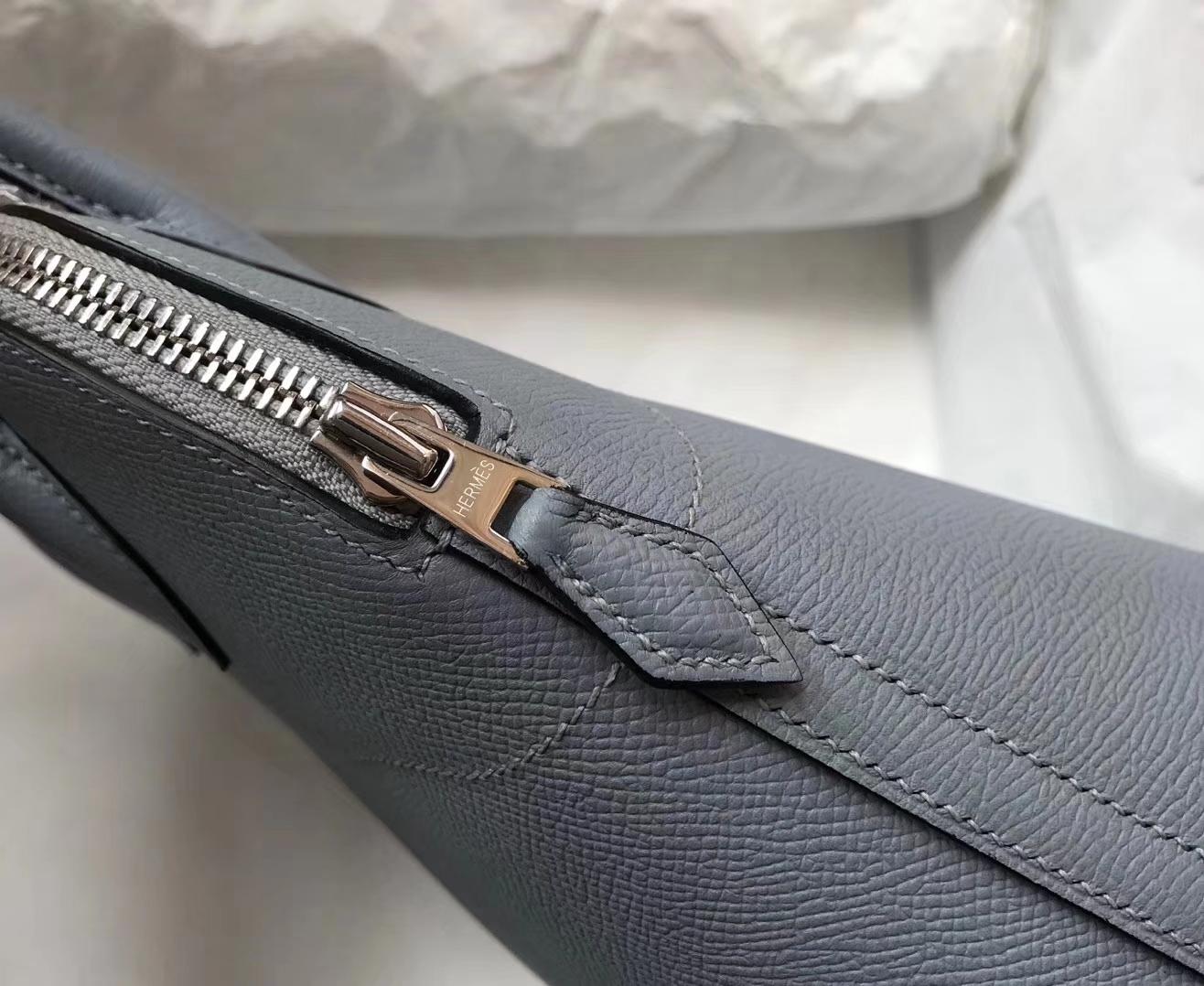 Elegant Hermes Epsom Calf Bolide Bag27CM in J7 Blue Lin Silver Hardware