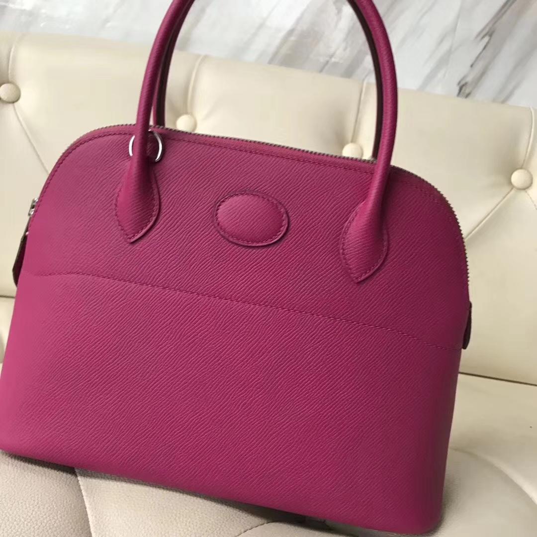 Sale Hermes Epsom Calf Bolide27CM Bag in L3 Rose Purple Silver Hardware