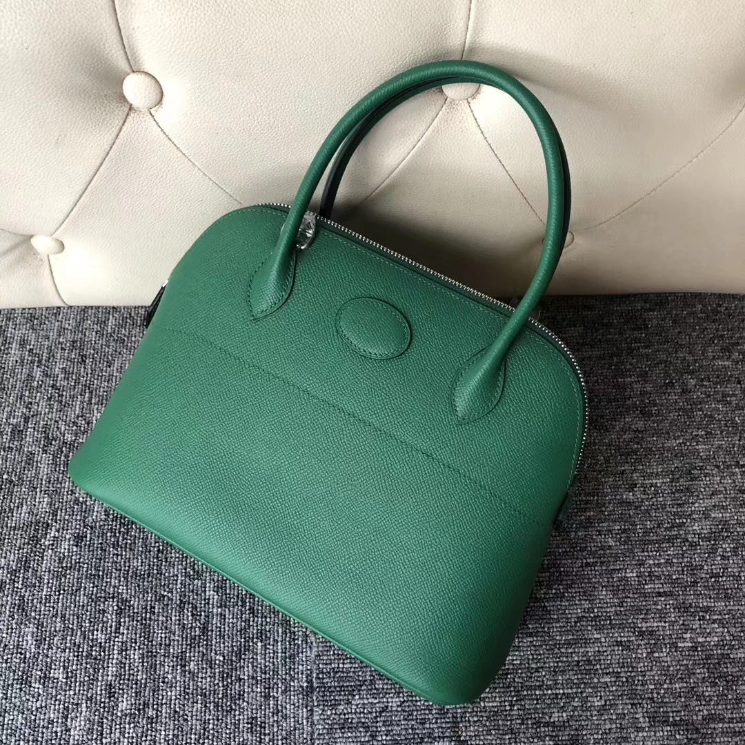 Stock Wholesale Hermes U4 Vert Verigo Epsom Calf Bolide27CM Bag Silver Hardware
