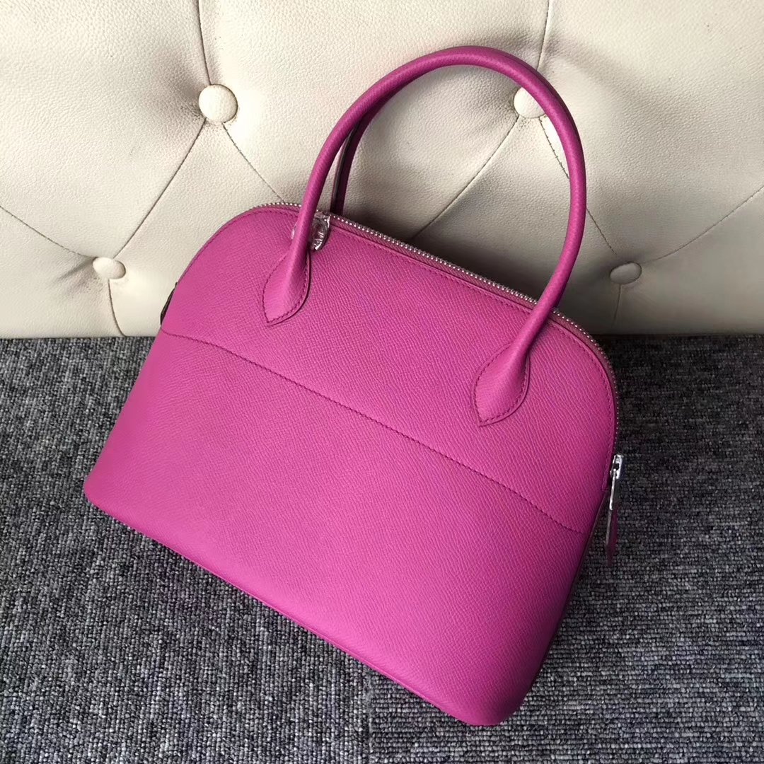 Stock Pretty Hermes Epsom Calf Bolide Bag27cm in 9I Rose Magnolia Silver Hardware