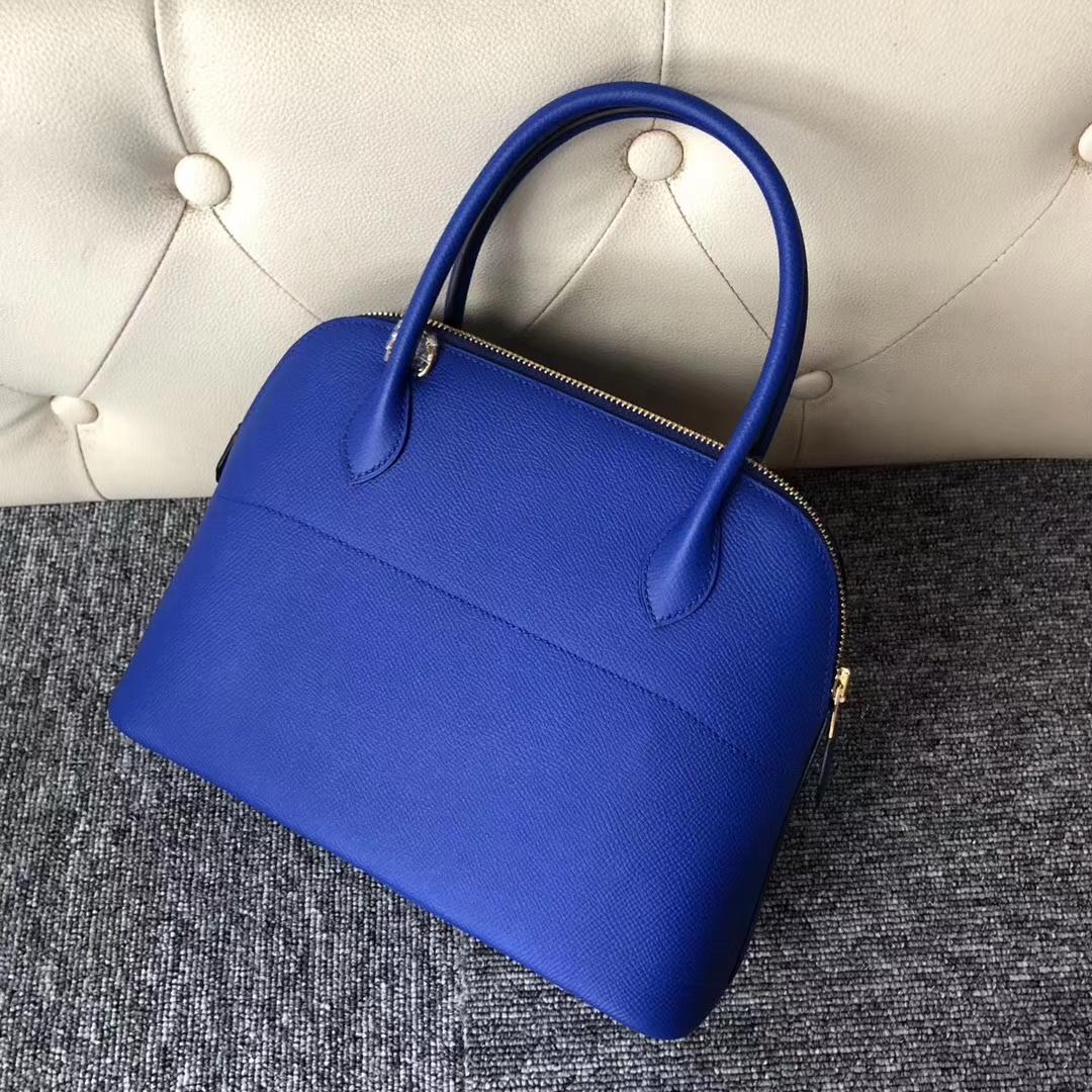 Stock Hermes I7 Blue Zellige Epsom Calf Bolide Bag27CM Gold Hardware