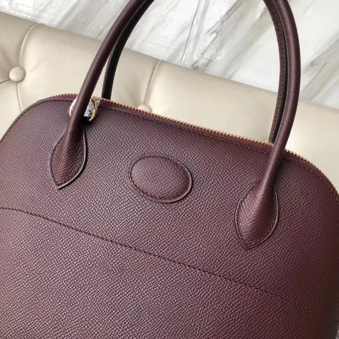 New Hermes CK57 Bordeaux Epsom Calf Bolide27CM Tote Bag Gold Hardware