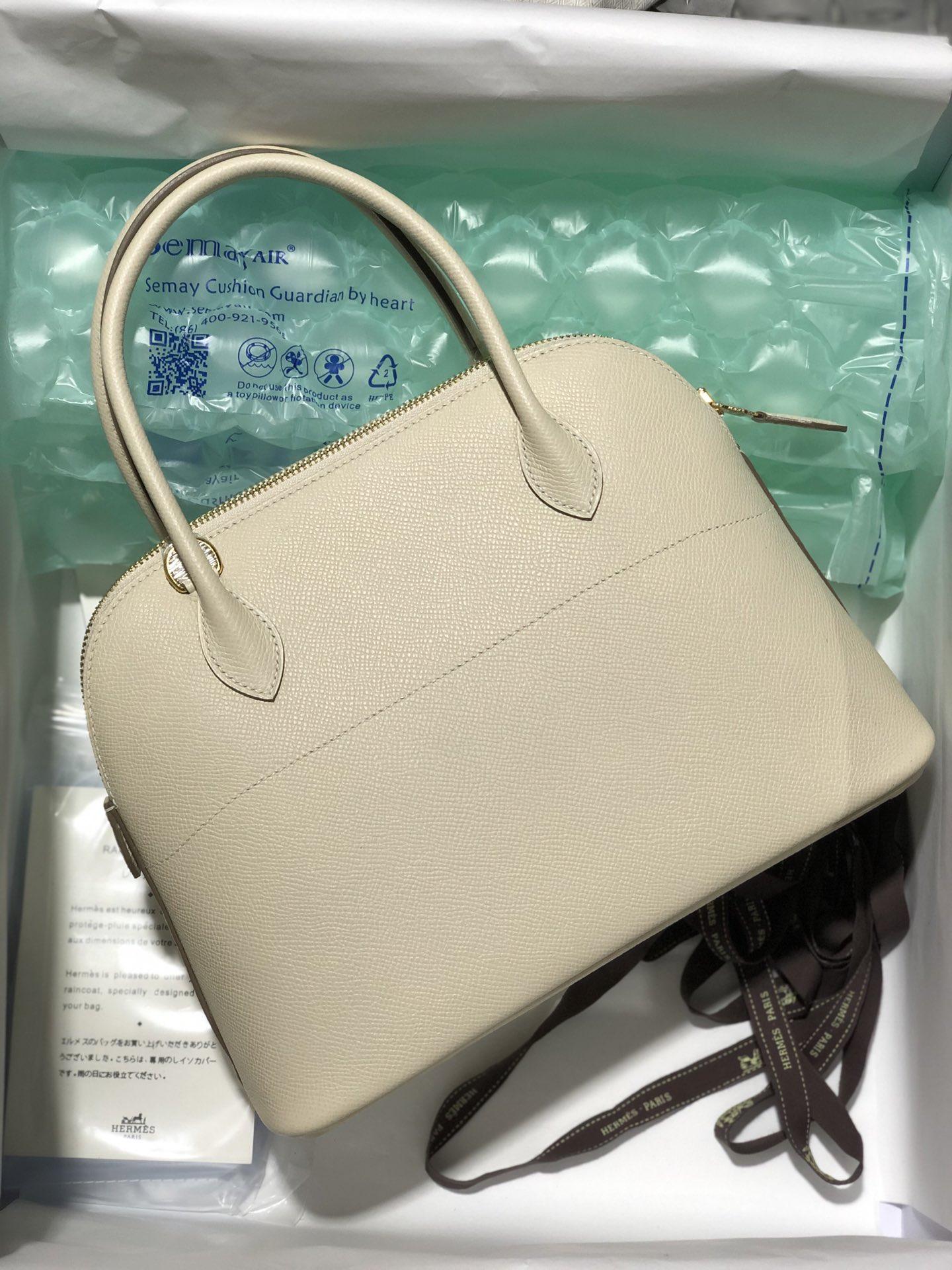 Stock Hermes Epsom Calf Bolide Bag27cm CK10 Craie White Gold Hardware