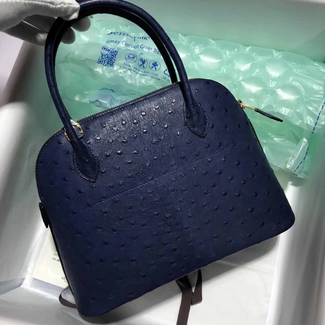 Fashion Hermes KK Ostrich Bolide Bag27cm in Blue Saphir Gold Hardware