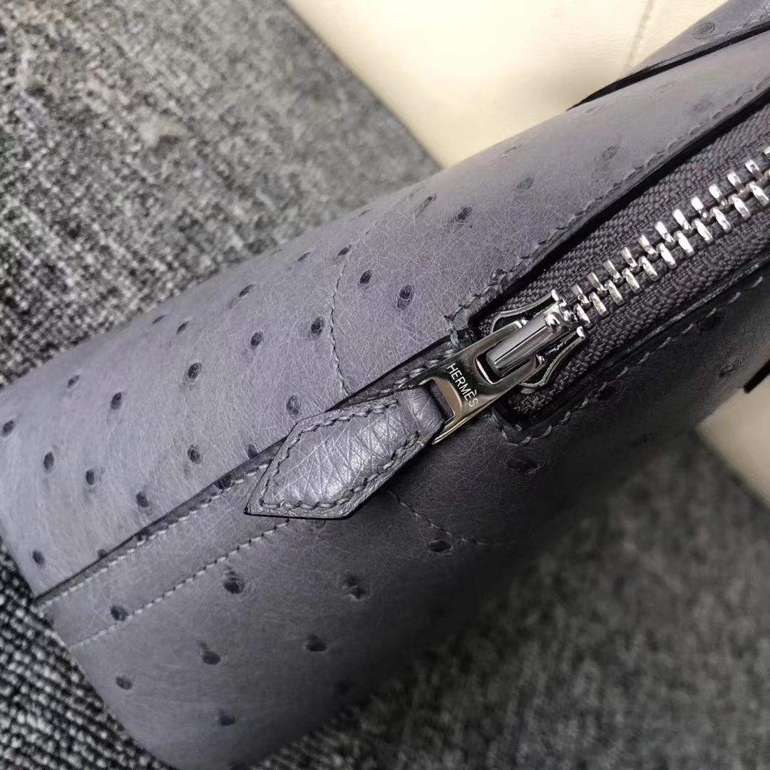 New Hermes CK82 Gris Agate KK Ostrich Bolide Bag27cm Silver Hardware