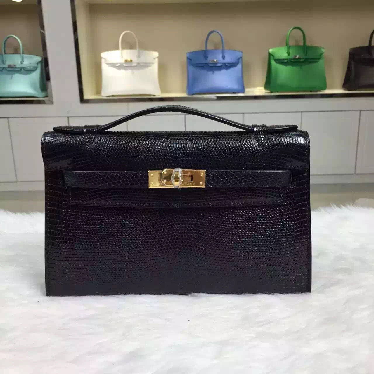 Discount Hermes Mini Kelly Pochette Black Lizard Skin Leather 22CM Gold Hardware