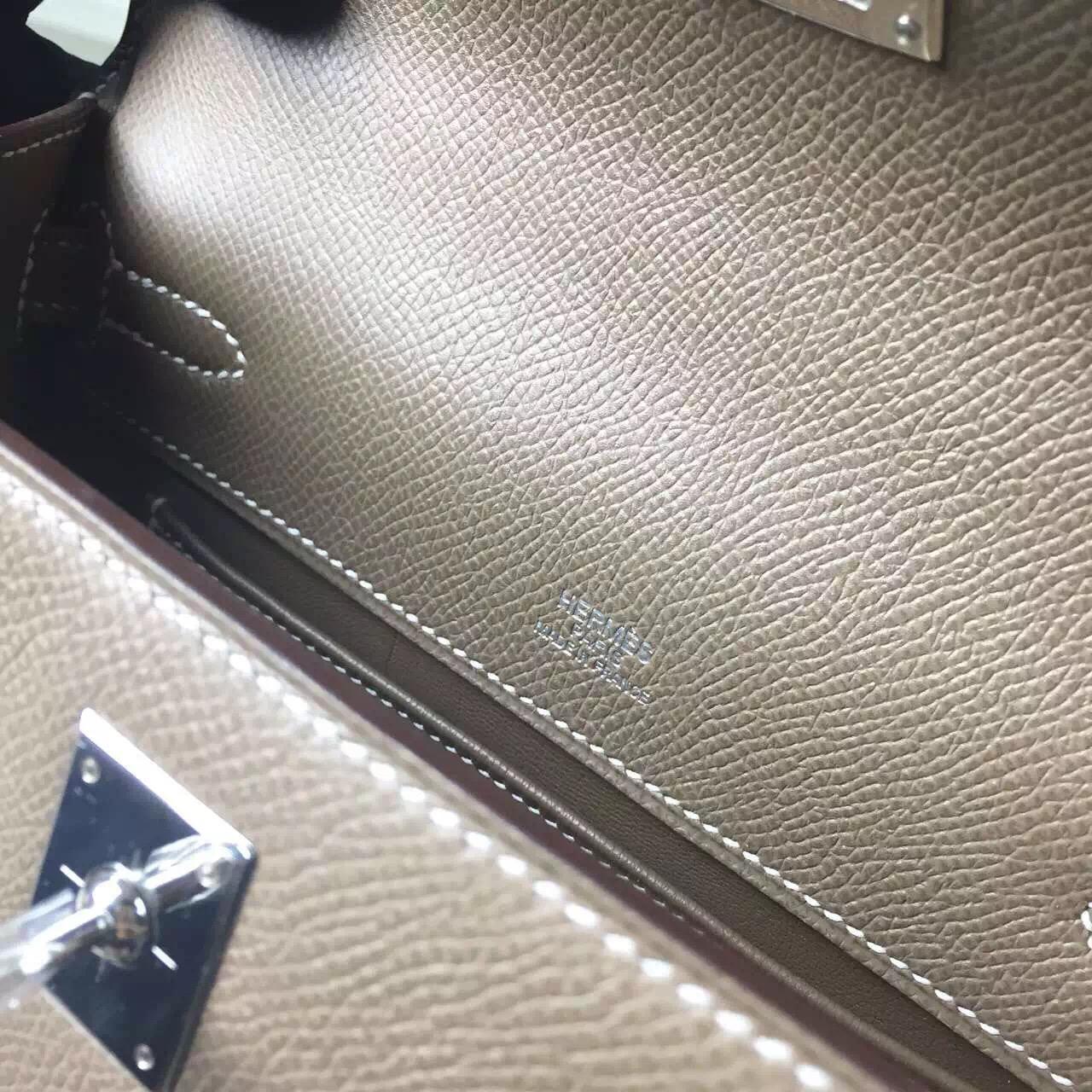 Hand Stitching Hermes Mini Kelly Original Epsom Leather Etoupe Grey Silver Hardware