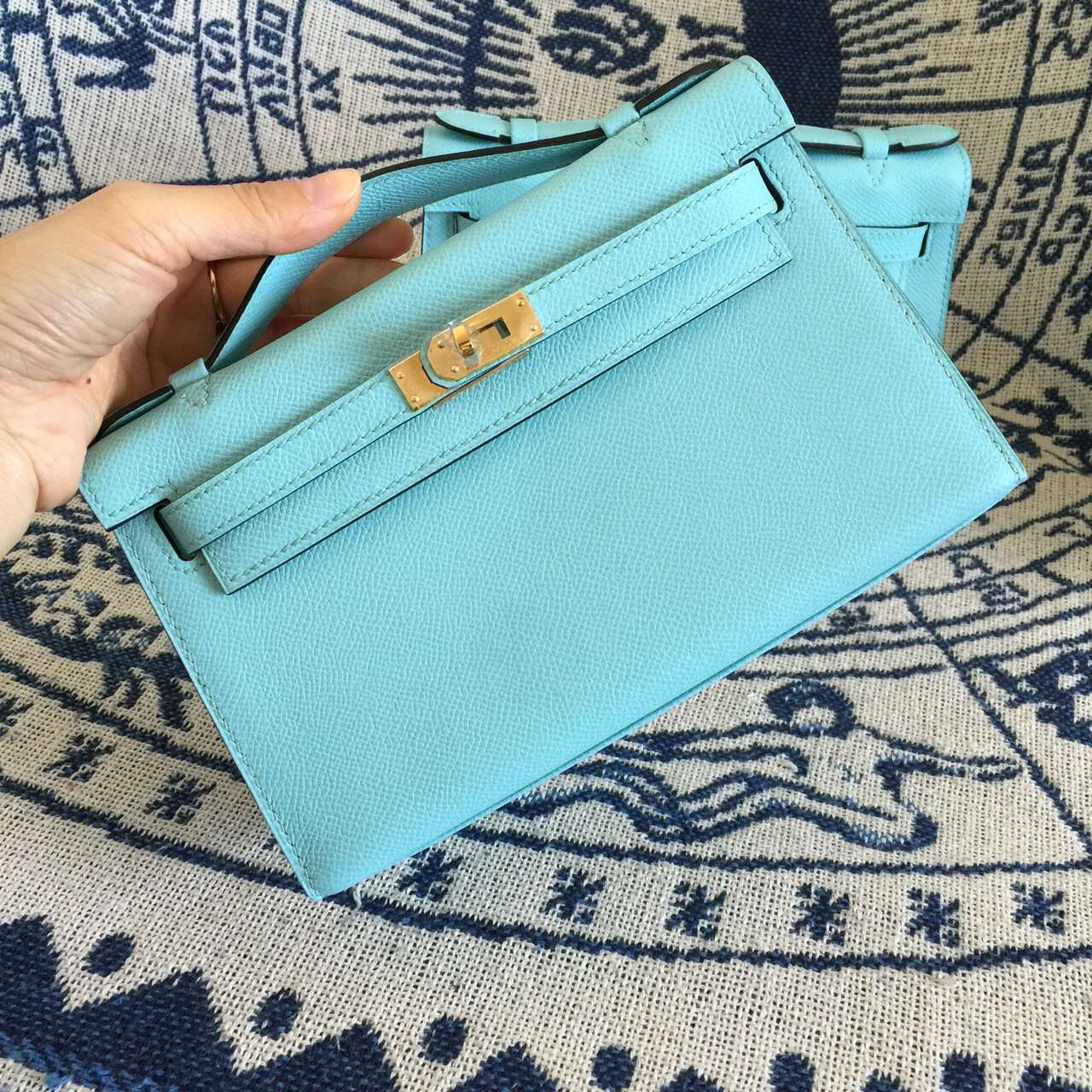 Discount Hermes Epsom Leather MiniKelly Bag in 3P Lagon Blue