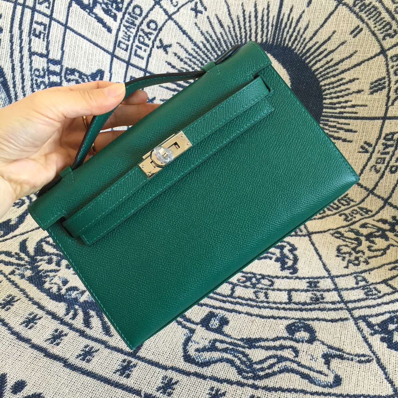 Wholesale Hermes Original Epsom Leather Z6 Malachite Green Mini Kelly Bag