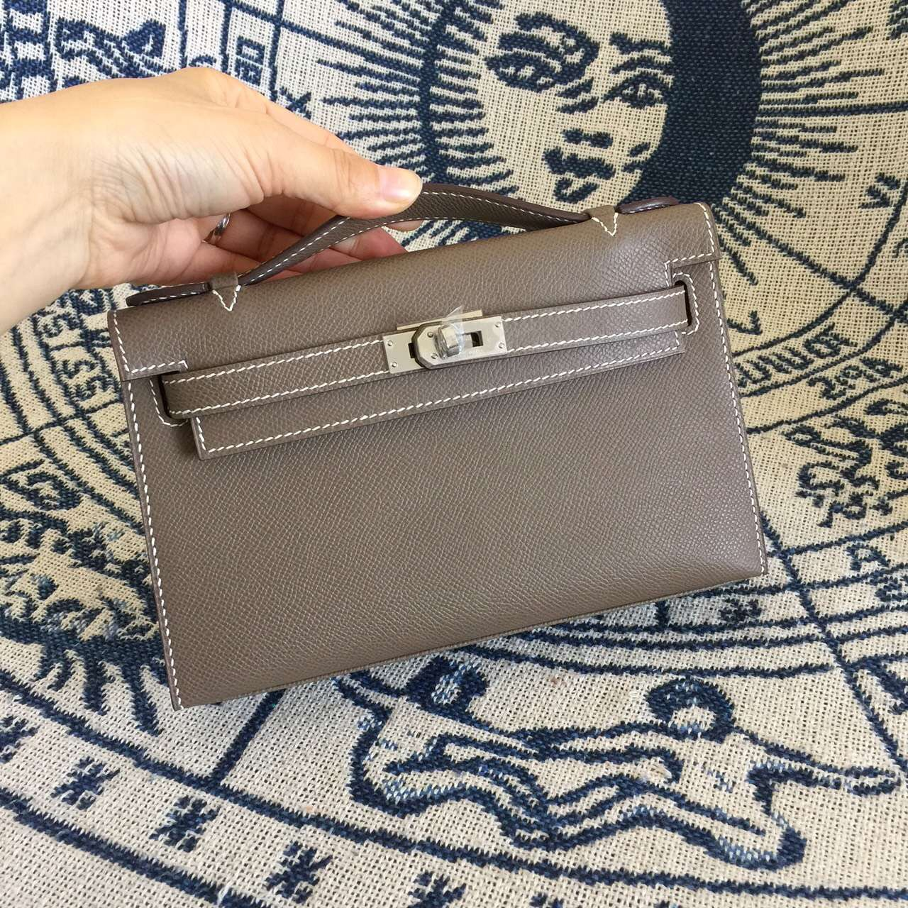 New Fashion Hermes CK18 Etoupe Grey Epsom Leather Mini Kelly Clutch Bag