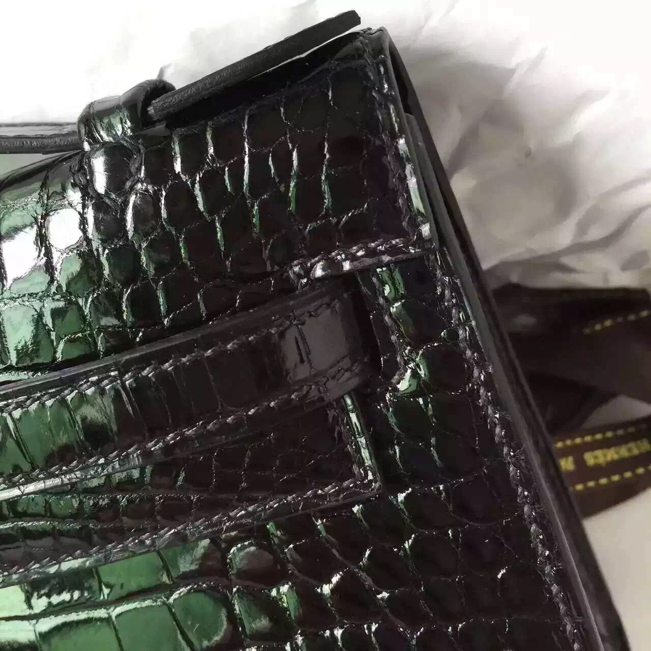 Luxury Hermes Minikelly Black Crocodile Leather Women's Clutch Bag