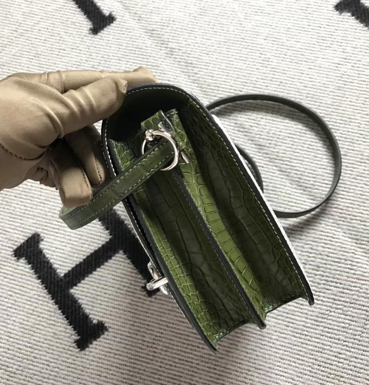 Stock Hermes Roulis Bag18CM Nature LizardLeather & Vert Canopee Crocodile Matt