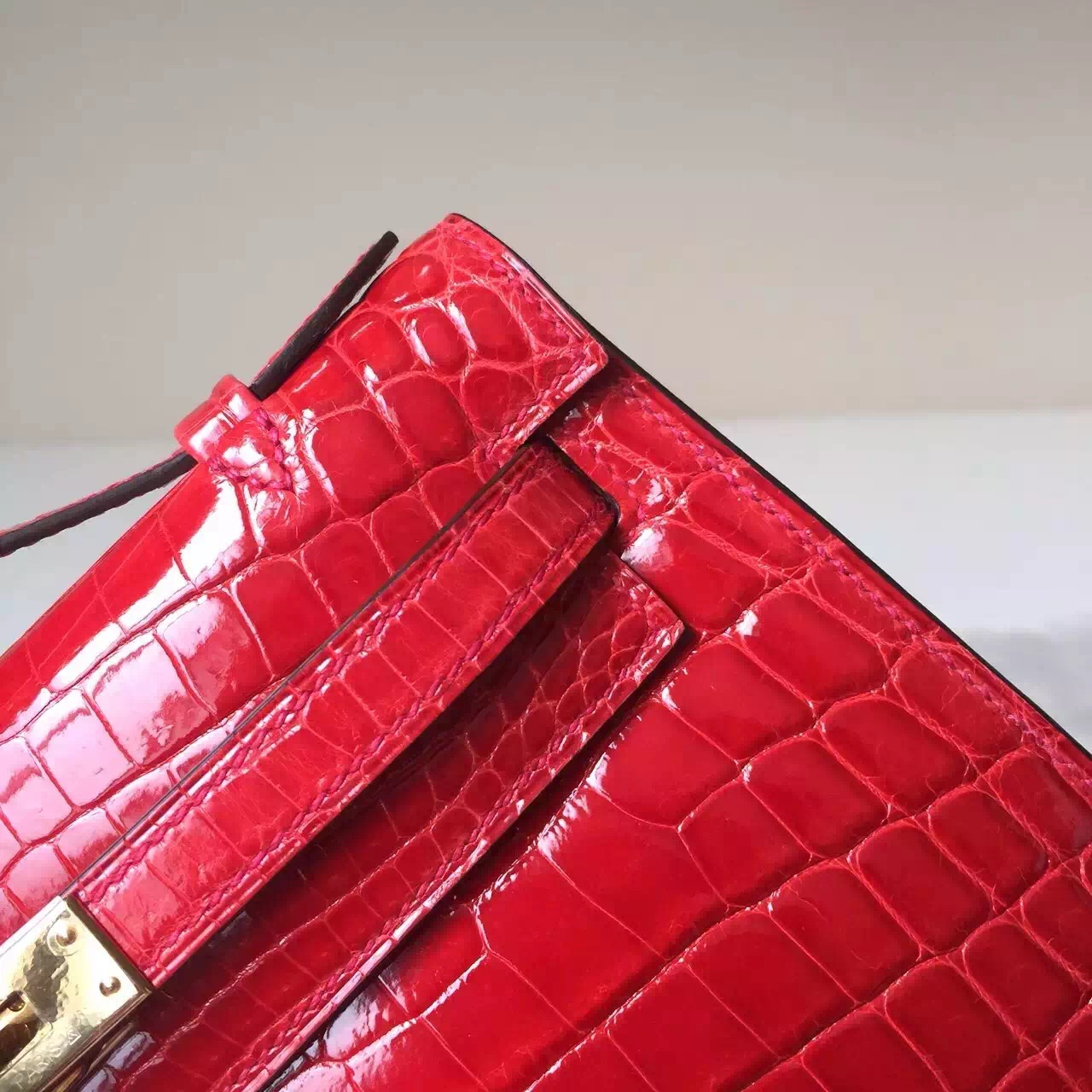 Wholesale Hermes Crocodile Shiny Leather Mini Kelly 22cm Clutch Bag