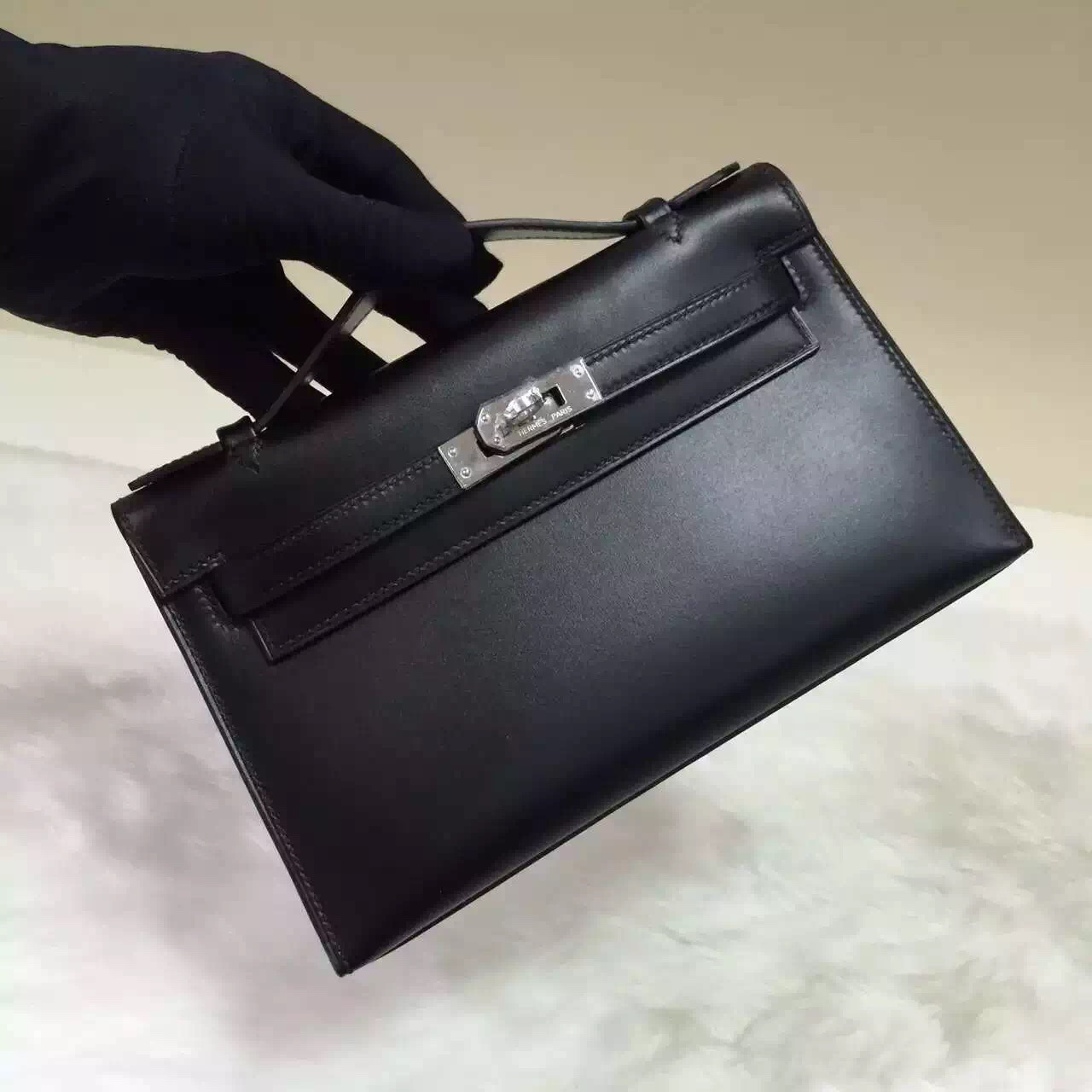 Sale Hermes Black Box Calfskin Leather Mini Kelly Bag 22CM