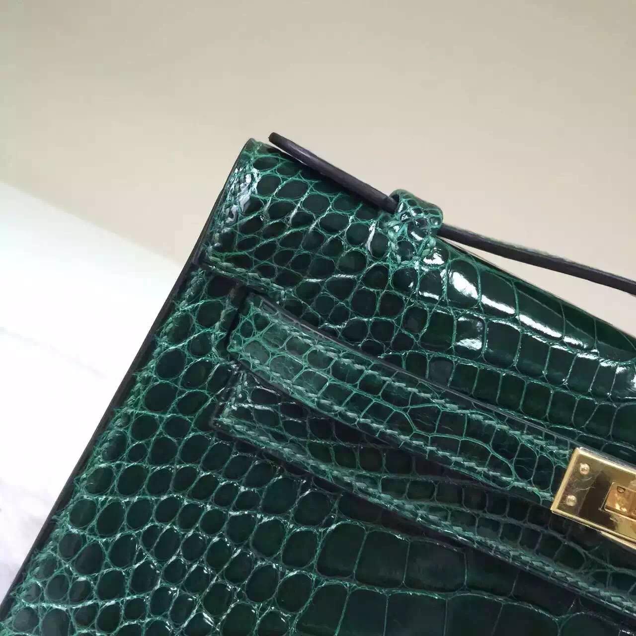 Hermes MiniKelly Pochette 22cm in CK67 Vert fonce Crocodile Leather