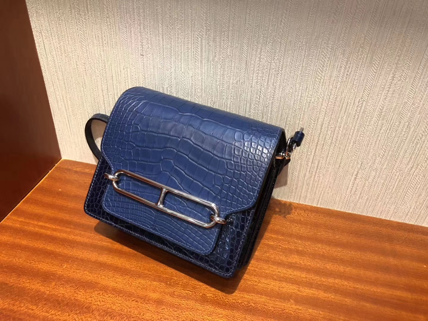 Fashion Hermes Blue Malta/Blue Saphir Crocodile Leather Roulis Bag18CM Silver Hardware