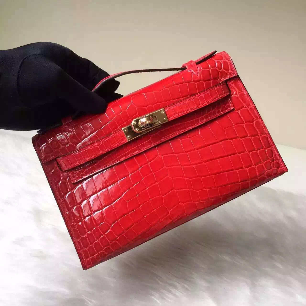 Discount Hermes CK95 Braise Red Crocodile Leather MiniKelly Pochette Bag 22cm