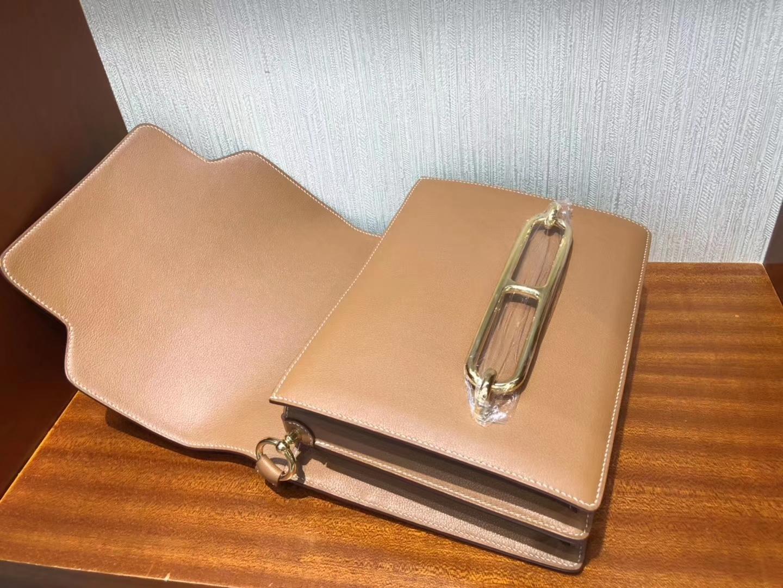 Sale Hermes CK37 Gold Evecolor Leather Roulis Bag24CM Gold Hardware